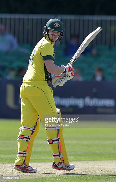 Steve Smith of Australia during the ODI cricket game between Ireland and Australia at Stormont cricket ground on August 27 2015 in Belfast Northern...