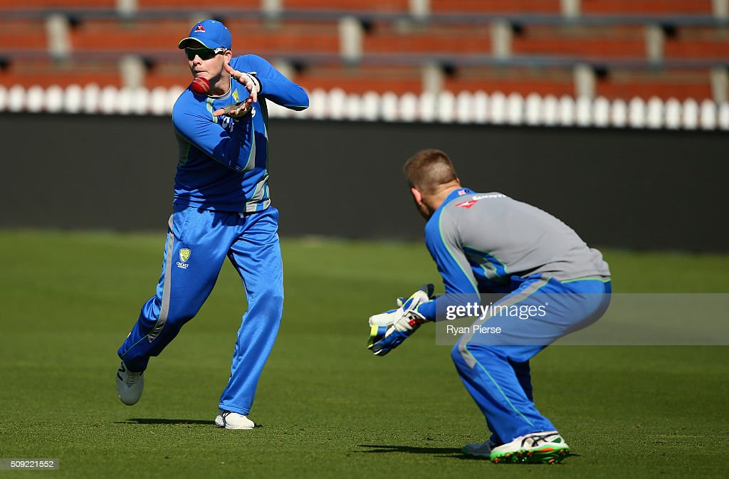 Steve Smith of Australia fields during an Australian nets session at Basin Reserve on February 11, 2016 in Wellington, New Zealand.