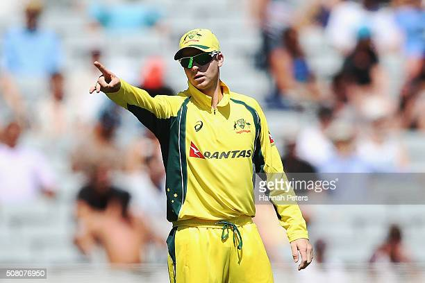 Steve Smith of Australia fields during the One Day International match between New Zealand and Australia at Eden Park on February 3 2016 in Auckland...