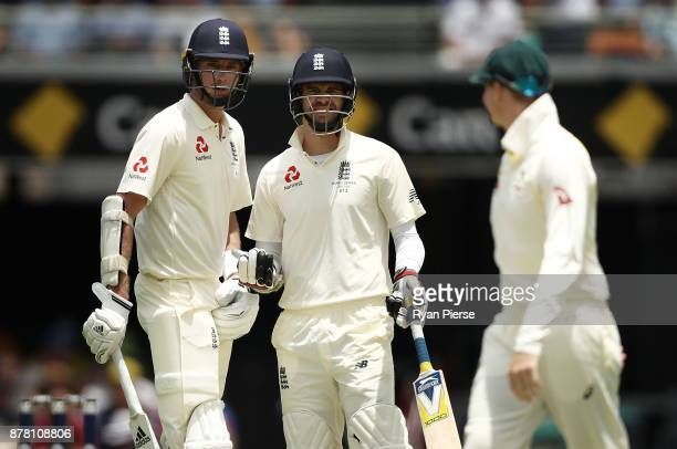 Steve Smith of Australia has words with Stuart Broad and James Anderson of England during day two of the First Test Match of the 2017/18 Ashes Series...