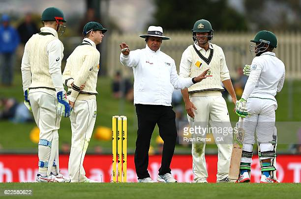 Steve Smith of Australia has words with Temba Bavuma of South Africa during day one of the Second Test match between Australia and South Africa at...
