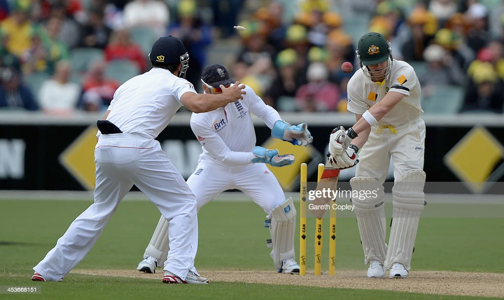 Steve Smith of Australia is bowled by Monty Panesar of England during day one of the Second Ashes Test Match between Australia and England at Adelaide Oval on December 5, 2013 in Adelaide, Australia.