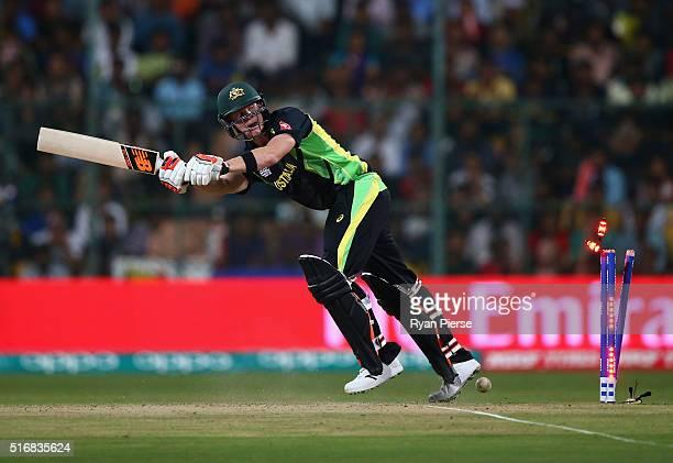 Steve Smith of Australia is bowled by Mushfiqur Rahim of Bangladesh during the ICC World Twenty20 India 2016 Super 10s Group 2 match between...
