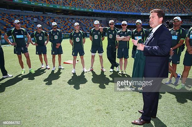 Steve Smith of Australia is presented his Captains Blazer by former Test Captain Mark Taylor during day one of the 2nd Test match between Australia...