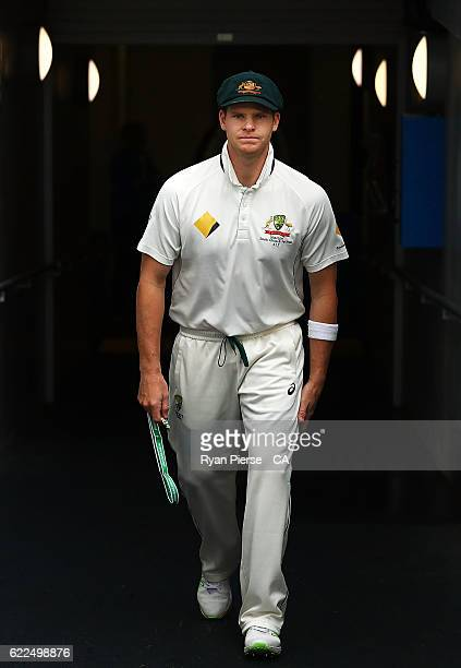 Steve Smith of Australia leads his team out during day one of the Second Test match between Australia and South Africa at Blundstone Arena on...