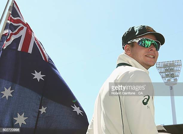 Steve Smith of Australia leads his team out to field during day four of the Second Test match between Australia and the West Indies at the Melbourne...