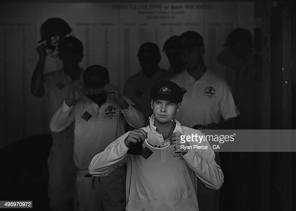 Steve Smith of Australia leads his team out to field during day two of the First Test match between Australia and New Zealand at The Gabba on...