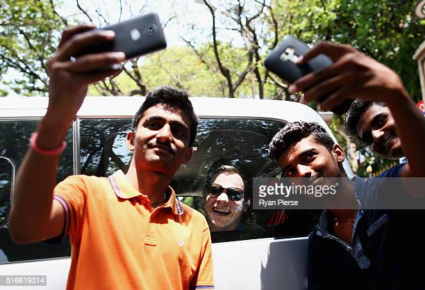 Steve Smith of Australia leaves in a car after a Press Conference ahead of the ICC WT20 match between Australia and Bangladesh at The M Chinnaswamy...