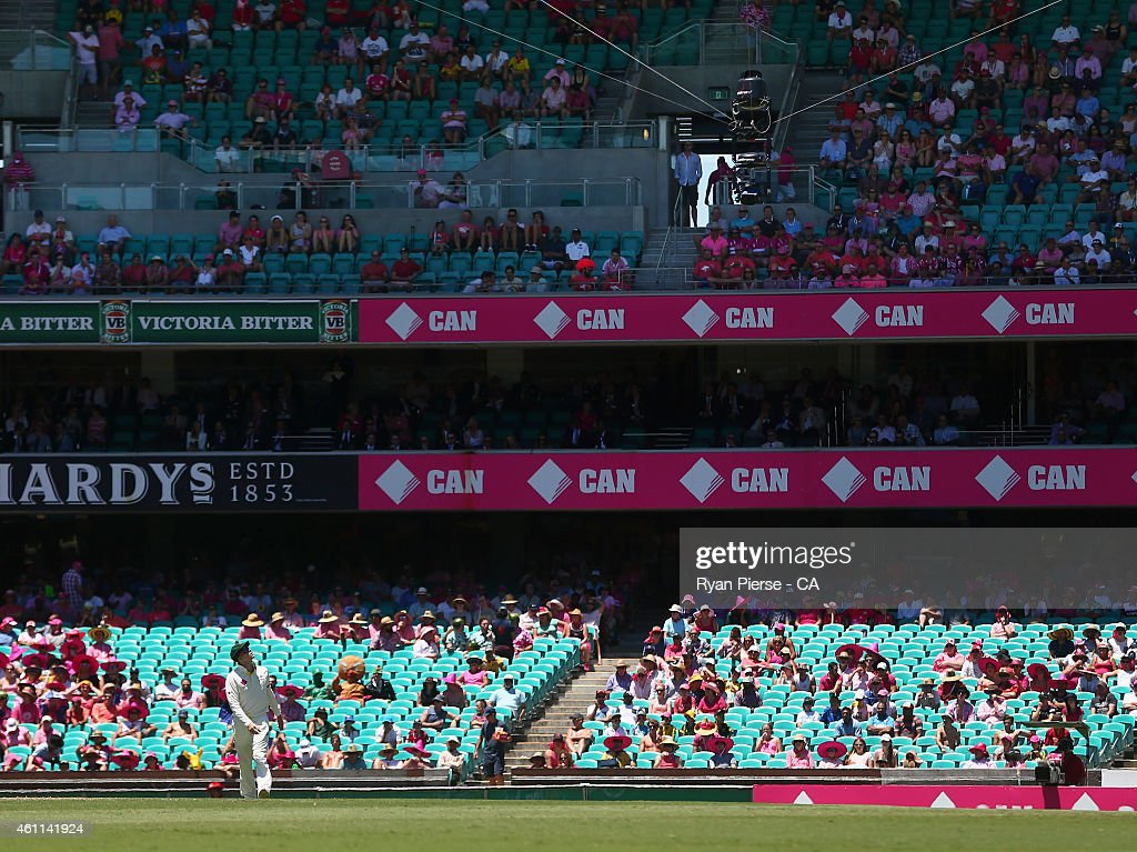 Steve Smith of Australia looks at the Spidercam after he dropped a catch during day three of the Fourth Test match between Australia and India at...