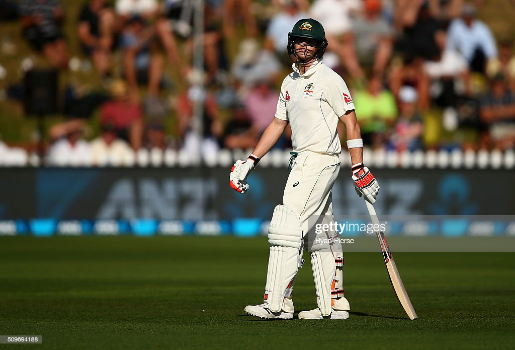 Steve Smith of Australia looks dejected after being dismissed by Mark Craig of New Zealand during day one of the Test match between New Zealand and Australia at Basin Reserve on February 12, 2016 in Wellington, New Zealand.