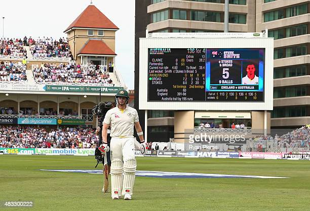 Steve Smith of Australia looks dejected after being dismissed by Stuart Broad of England during day two of the 4th Investec Ashes Test match between...
