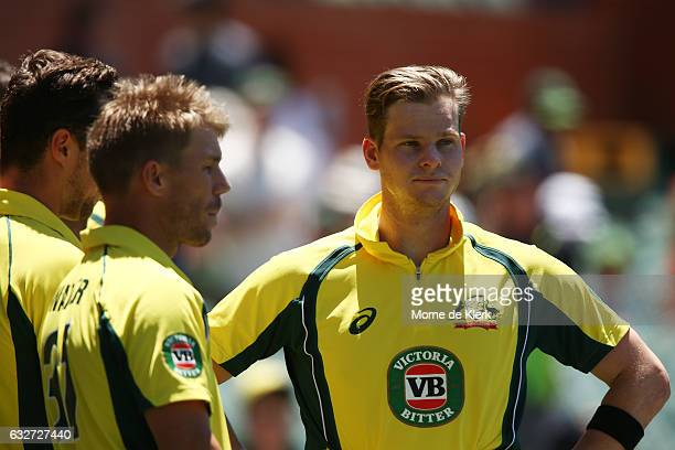 Steve Smith of Australia looks on before the start of game five of the One Day International series between Australia and Pakistan at Adelaide Oval...