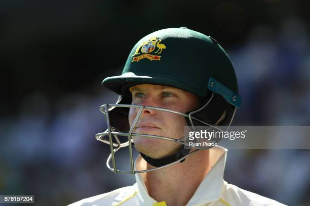 Steve Smith of Australia looks on during day two of the First Test Match of the 2017/18 Ashes Series between Australia and England at The Gabba on...