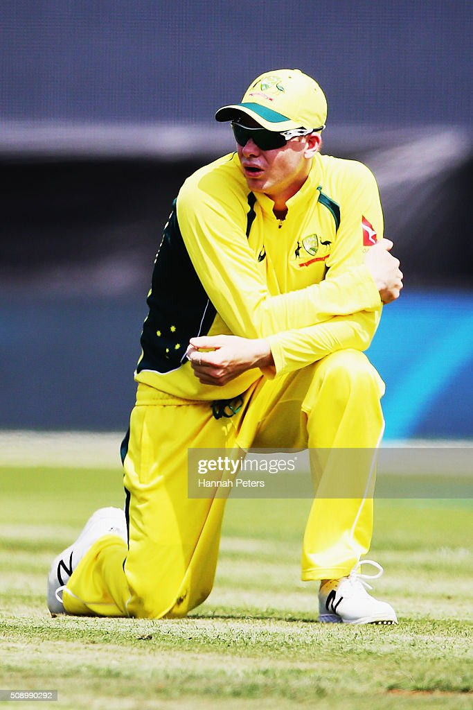 Steve Smith of Australia looks on during the 3rd One Day International cricket match between the New Zealand Black Caps and Australia at Seddon Park on February 8, 2016 in Hamilton, New Zealand.