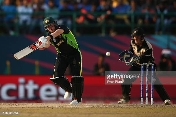 Steve Smith of Australia misses the ball and is stumped by Luke Ronchi of New Zealand during the ICC World Twenty20 India 2016 Super 10s Group 2...
