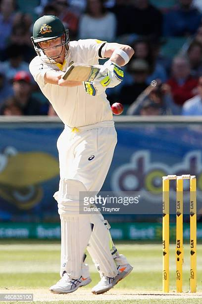 Steve Smith of Australia plays a pull shot during day one of the Third Test match between Australia and India at Melbourne Cricket Ground on December...