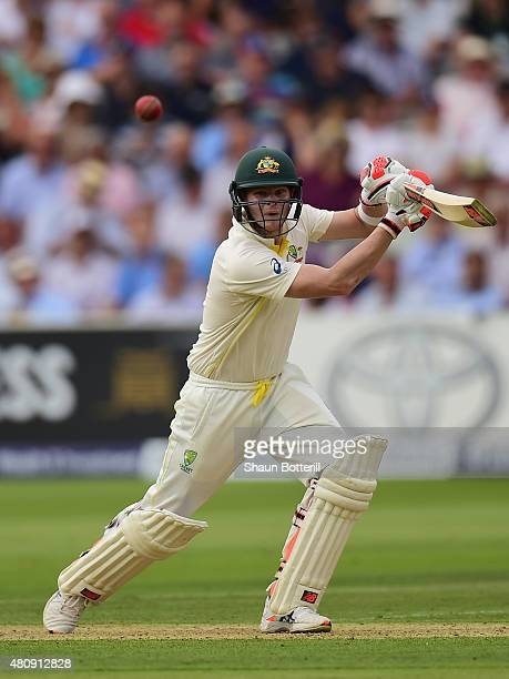 Steve Smith of Australia plays a shot during day one of the 2nd Investec Ashes Test match between England and Australia at Lord's Cricket Ground on...
