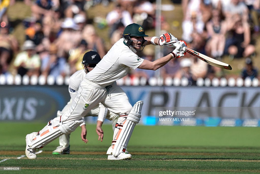 Steve Smith of Australia plays a shot during the first cricket Test match between New Zealand and Australia at the Basin Reserve in Wellington on February 12, 2016. AFP PHOTO / MARTY MELVILLE / AFP / Marty Melville