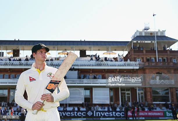Steve Smith of Australia poses on the ground after scoring 215 and 58 during the test during day four of the 2nd Investec Ashes Test match between...