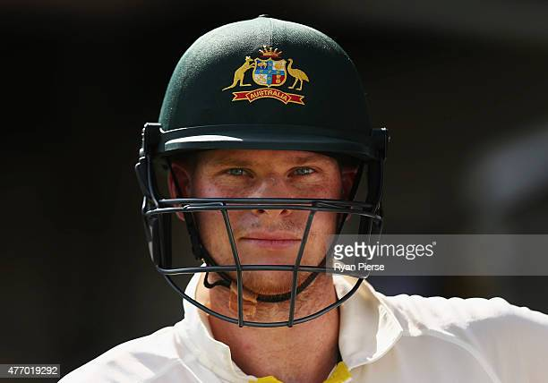 Steve Smith of Australia prepares to bat after the tea break during day three of the Second Test match between Australia and the West Indies at...