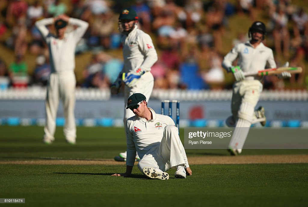Steve Smith of Australia reacts after attempting to catch Brendon McCullum of New Zealand during day three of the Test match between New Zealand and Australia at Basin Reserve on February 14, 2016 in Wellington, New Zealand.