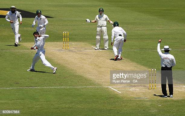 Steve Smith of Australia reacts after he was given out LBW by Umpire Aleem Dar off the bowling of Keshav Maharaj of South Africa during day two of...