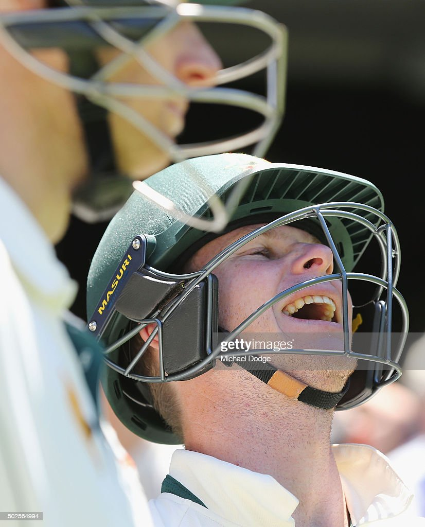 Steve Smith of Australia reacts with <a gi-track='captionPersonalityLinkClicked' href=/galleries/search?phrase=Adam+Voges&family=editorial&specificpeople=724770 ng-click='$event.stopPropagation()'>Adam Voges</a> as he walks out to bat after lunch during day two of the Second Test match between Australia and the West Indies at Melbourne Cricket Ground on December 27, 2015 in Melbourne, Australia.
