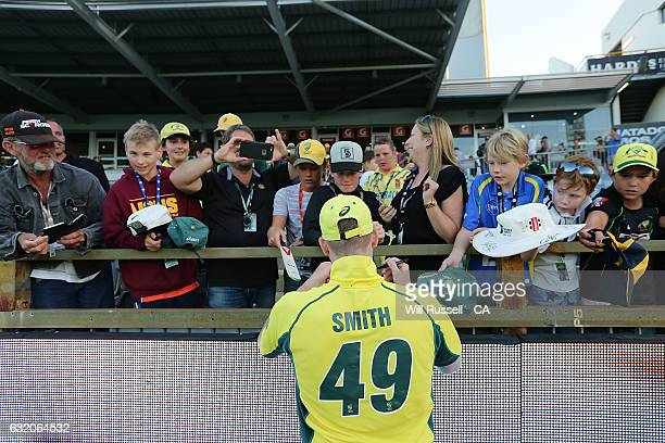 Steve Smith of Australia signs autographs after game three of the One Day International series between Australia and Pakistan at WACA on January 19...