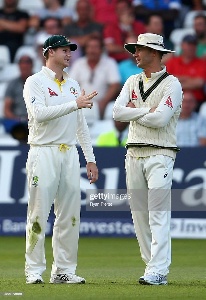 Steve Smith of Australia speaks with Michael Clarke of Australia during day one of the 4th Investec Ashes Test match between England and Australia at Trent Bridge on August 6, 2015 in Nottingham, United Kingdom.