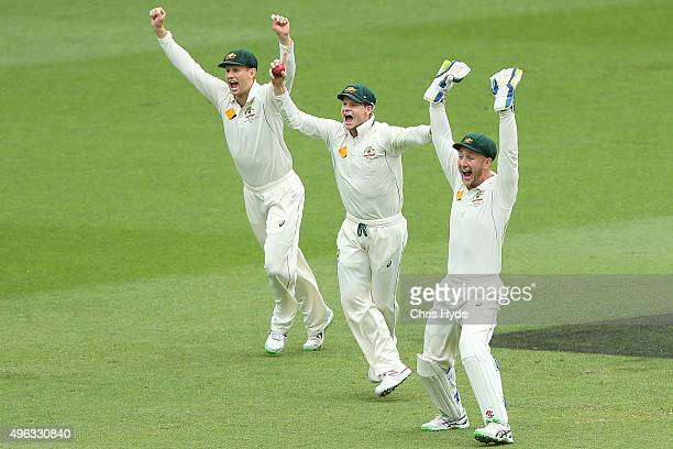 Steve Smith of Australia takes a catch to dismiss Ross Taylor of New Zealand off Josh Hazlewood bowling during day five of the First Test match...