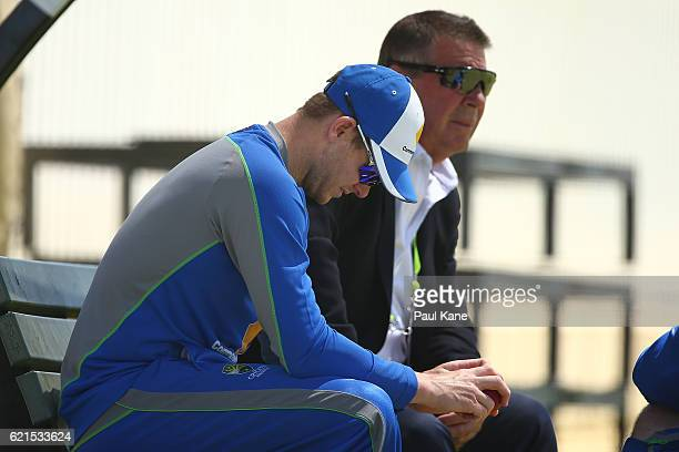 Steve Smith of Australia talks with Australian Chairman of Selectors Rod Marsh before start of play during day five of the First Test match between...