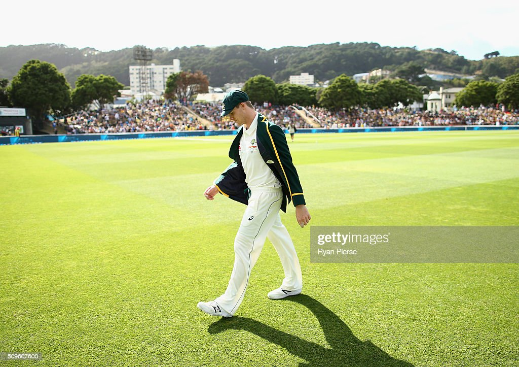 Steve Smith of Australia walks back from the coin toss during day one of the Test match between New Zealand and Australia at Basin Reserve on February 12, 2016 in Wellington, New Zealand.