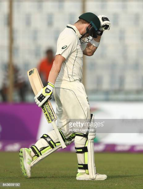 Steve Smith of Australia walks off after he was dismissed during day four of the Second Test match between Bangladesh and Australia at Zahur Ahmed...
