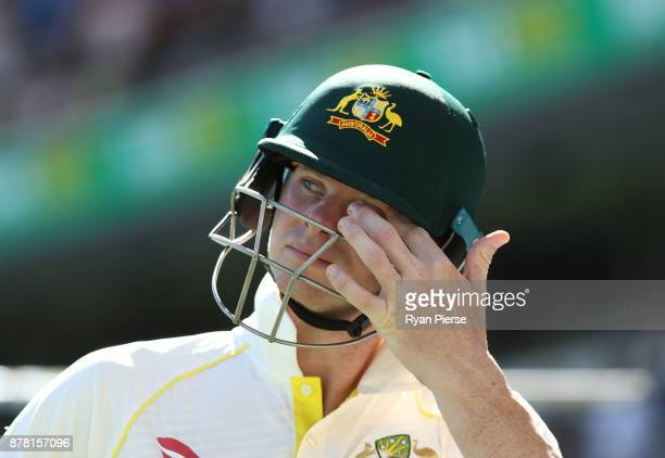 Steve Smith of Australia walks out to bat during day two of the First Test Match of the 2017/18 Ashes Series between Australia and England at The...