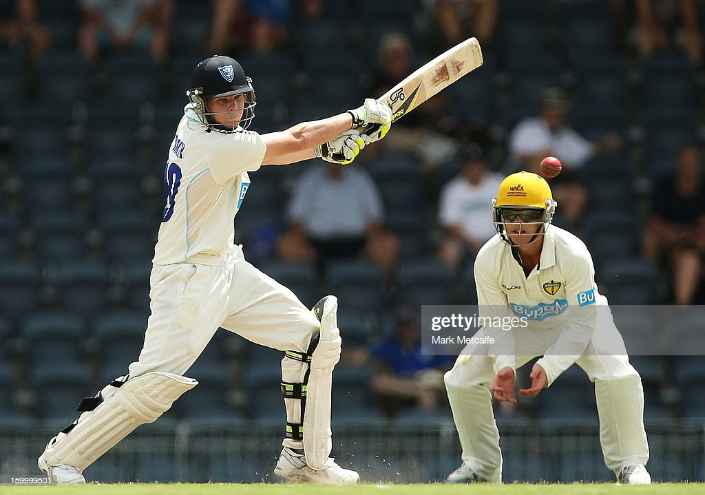 Steve Smith of the Blues bats during day two of the Sheffield Shield match between the New South Wales Blues and the Western Australia Warriors at Blacktown International Sportspark on January 25, 2013 in Sydney, Australia.