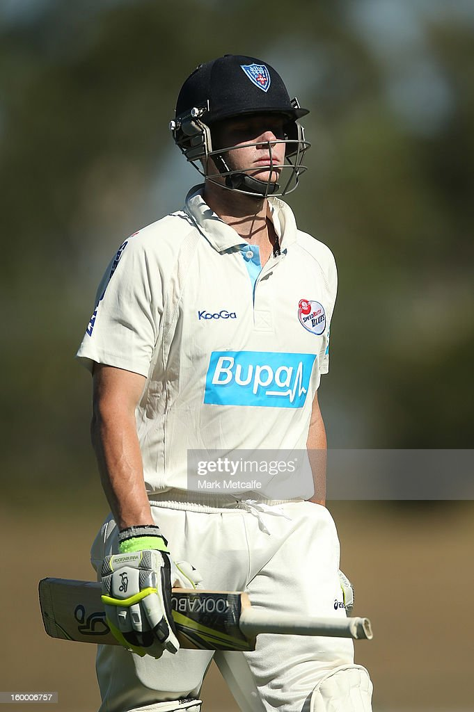 Steve Smith of the Blues leaves the field after being dismissed during day two of the Sheffield Shield match between the New South Wales Blues and the Western Australia Warriors at Blacktown International Sportspark on January 25, 2013 in Sydney, Australia.