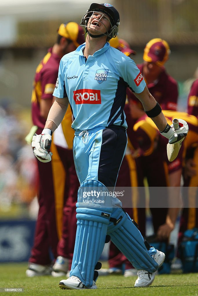 Steve Smith of the Blues looks dejected as he leaves the field after being dismissed during the Ryobi Cup Final match between the Queensland Bulls and the New South Wales Blues at North Sydney Oval on October 27, 2013 in Sydney, Australia.