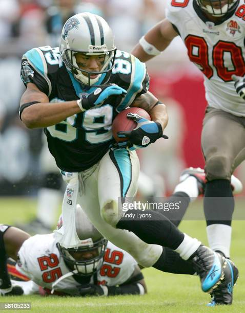Steve Smith of the Carolina Panthers runs with the ball after a reception against Tampa Bay Buccaneers at Raymond James Stadium on November 6 2005 in...