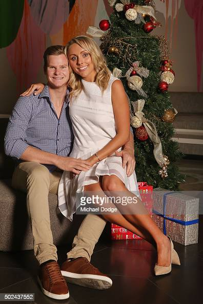 Steve Smith poses with partner Dani Willis during the Australian Test Squad Christmas Day Luncheon at Crown Entertainment Complex on December 25 2015...
