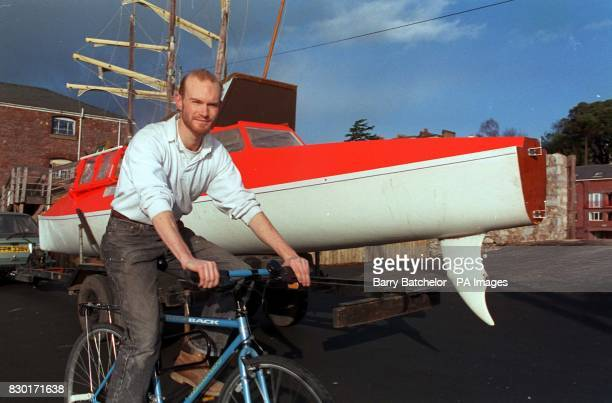 Steve Smith with his pedal boat and bicycle on which he and Jason Lewis plan to become the first people to pedal around the world 17/4/94 Take vessel...