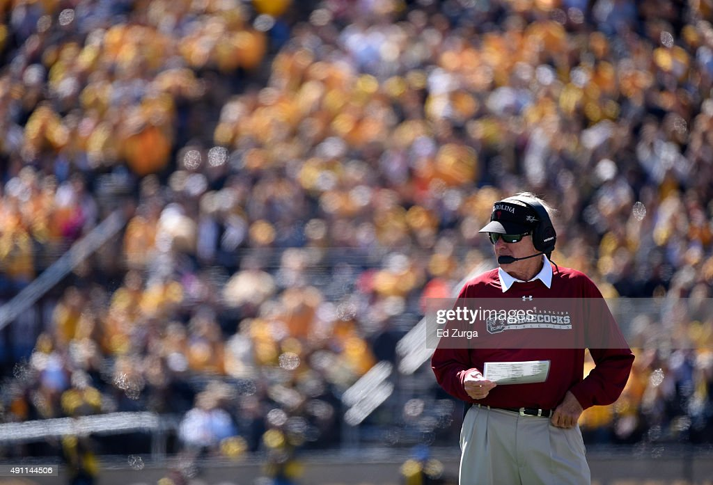 Steve Spurrier head coach of the South Carolina Gamecocks watches his team during a game against the Missouri Tigers in the second quarter at Memorial Stadium on October 3, 2015 in Columbia, Missouri.