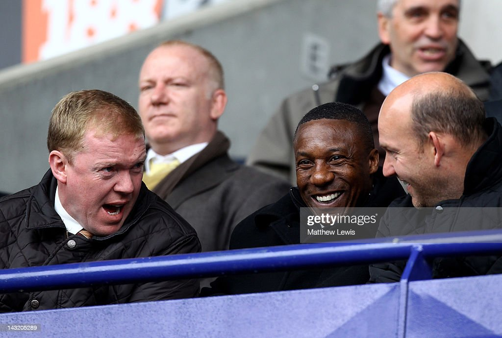 Steve Staunton (L) chats with Wolverhampton Wanderers Manager Terry Connor prior to the Barclays Premier League match between Bolton Wanderers and Swansea City at Reebok Stadium on April 21, 2012 in Bolton, England.