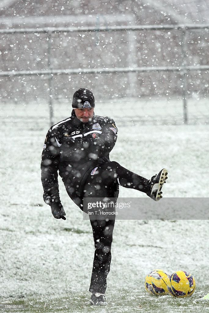 Steve Stone kicks a ball during a Newcastle United training session at the Little Benton Training Ground on January 14, 2013 in Newcastle upon Tyne, England.