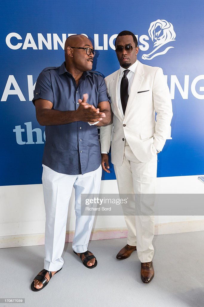 <a gi-track='captionPersonalityLinkClicked' href=/galleries/search?phrase=Steve+Stoute+-+Music+Producer&family=editorial&specificpeople=717825 ng-click='$event.stopPropagation()'>Steve Stoute</a> and Sean 'Diddy' Combs pose at the Palais des Festivals as they attend the 'Culture as a Creative Catalyst ' Seminar during the 60th Cannes Lions International Festival of Creativity on June 19, 2013 in Cannes, France.