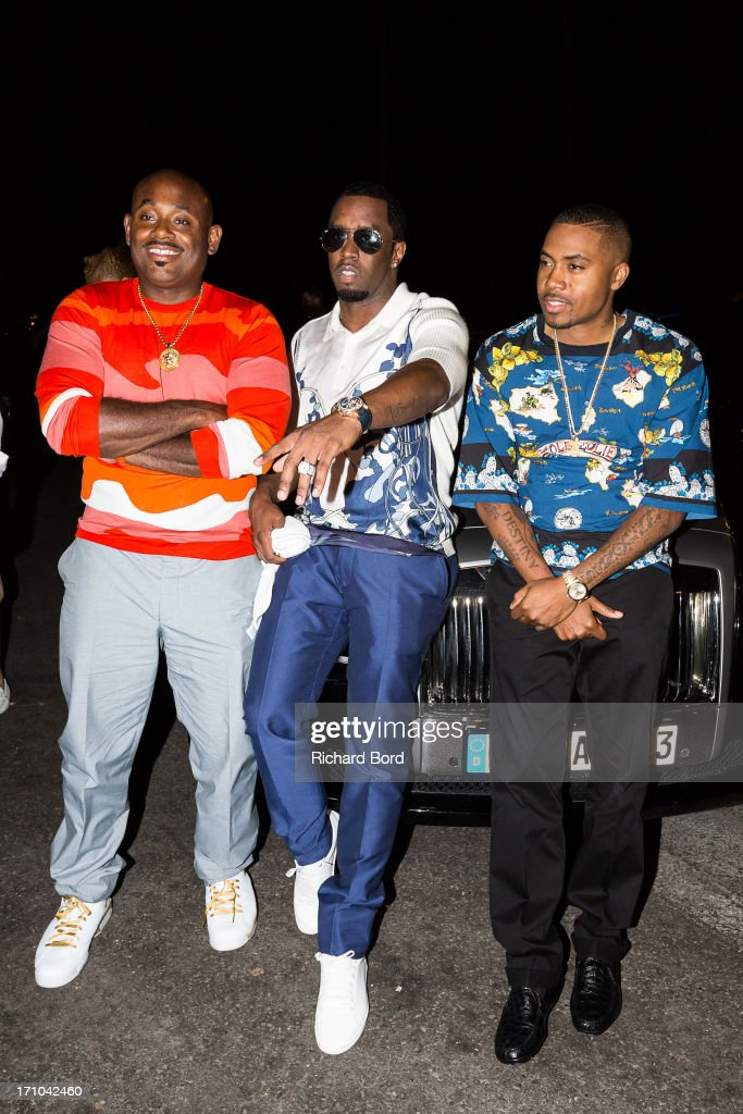 <a gi-track='captionPersonalityLinkClicked' href=/galleries/search?phrase=Steve+Stoute+-+Music+Producer&family=editorial&specificpeople=717825 ng-click='$event.stopPropagation()'>Steve Stoute</a>, Sean 'Diddy' Combs and <a gi-track='captionPersonalityLinkClicked' href=/galleries/search?phrase=Nas&family=editorial&specificpeople=204627 ng-click='$event.stopPropagation()'>Nas</a>ire '<a gi-track='captionPersonalityLinkClicked' href=/galleries/search?phrase=Nas&family=editorial&specificpeople=204627 ng-click='$event.stopPropagation()'>Nas</a>' Jones arrive at Gotha Night Club during Cannes Lions International Festival of Creativity at Gotha Night Club on June 21, 2013 in Cannes, France.