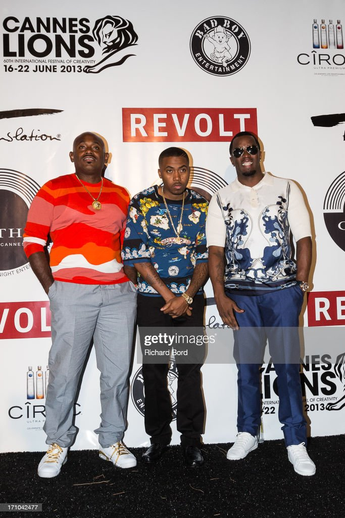 <a gi-track='captionPersonalityLinkClicked' href=/galleries/search?phrase=Steve+Stoute&family=editorial&specificpeople=717825 ng-click='$event.stopPropagation()'>Steve Stoute</a>, Sean 'Diddy' Combs and <a gi-track='captionPersonalityLinkClicked' href=/galleries/search?phrase=Nas&family=editorial&specificpeople=204627 ng-click='$event.stopPropagation()'>Nas</a>ire '<a gi-track='captionPersonalityLinkClicked' href=/galleries/search?phrase=Nas&family=editorial&specificpeople=204627 ng-click='$event.stopPropagation()'>Nas</a>' Jones arrive at Gotha Night Club during Cannes Lions International Festival of Creativity at Gotha Night Club on June 21, 2013 in Cannes, France.