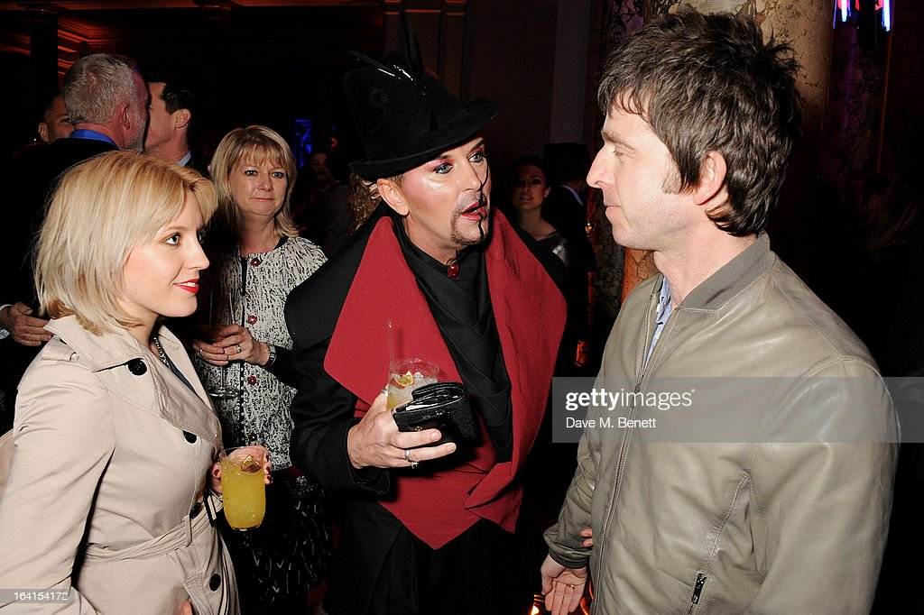 Steve Strange (C) and Noel Gallagher (R) attend the private view for the 'David Bowie Is' exhibition in partnership with Gucci and Sennheiser at the Victoria and Albert Museum on March 20, 2013 in London, England.