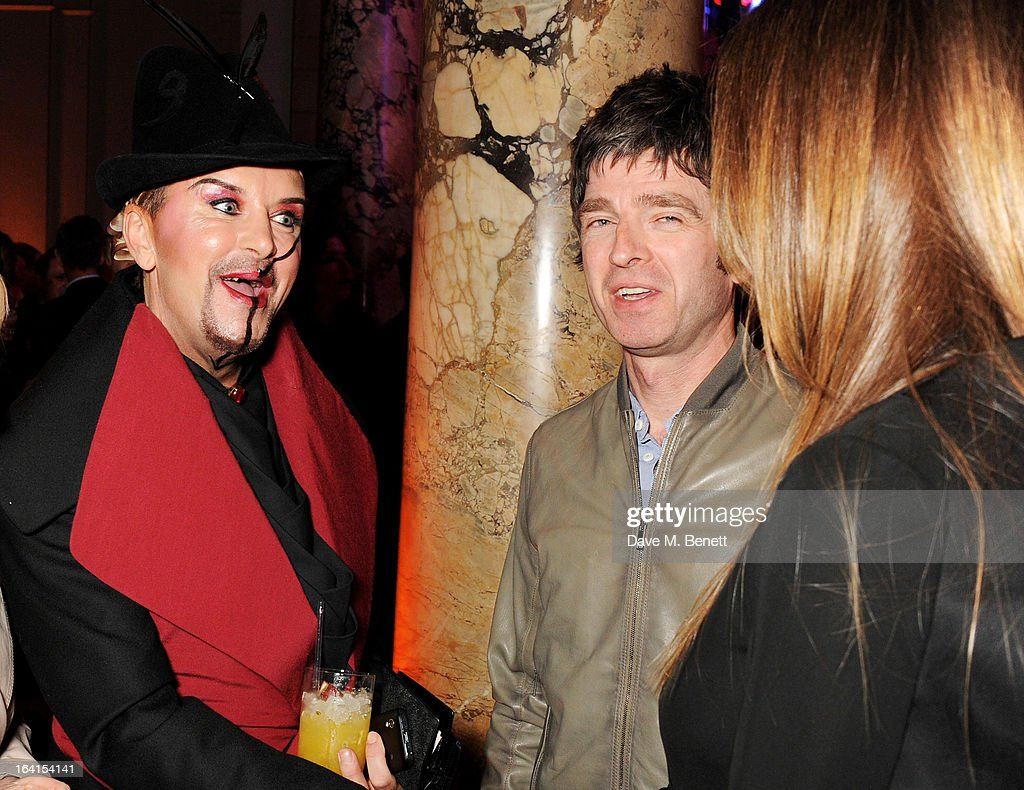Steve Strange, Noel Gallagher and Sara Macdonald attend the private view for the 'David Bowie Is' exhibition in partnership with Gucci and Sennheiser at the Victoria and Albert Museum on March 20, 2013 in London, England.