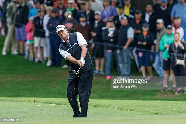 Steve Stricker chips onto the 5th green during the second round of the Crowne Plaza Invitational at Colonial in Fort Worth TX