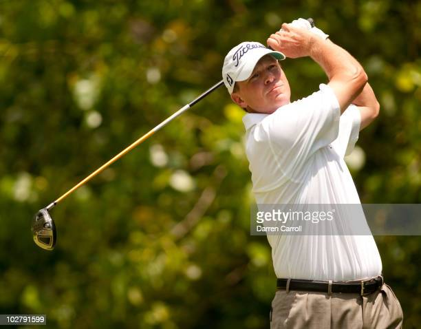 Steve Stricker follows through on a tee shot during the third round of the John Deere Classic at TPC Deere Run on July 10 2010 in Silvis Illinois